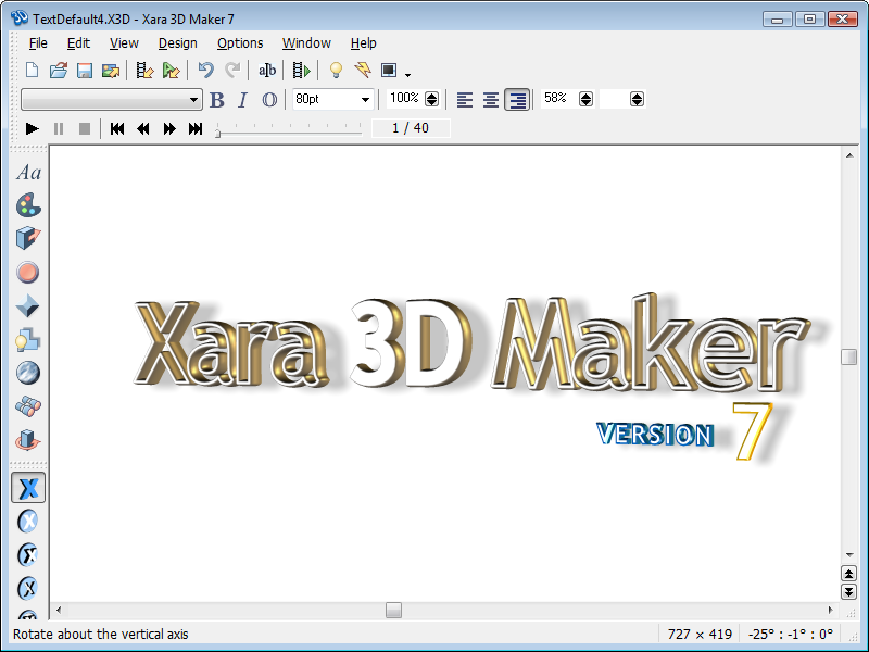 Xara 3D Maker Screen shot