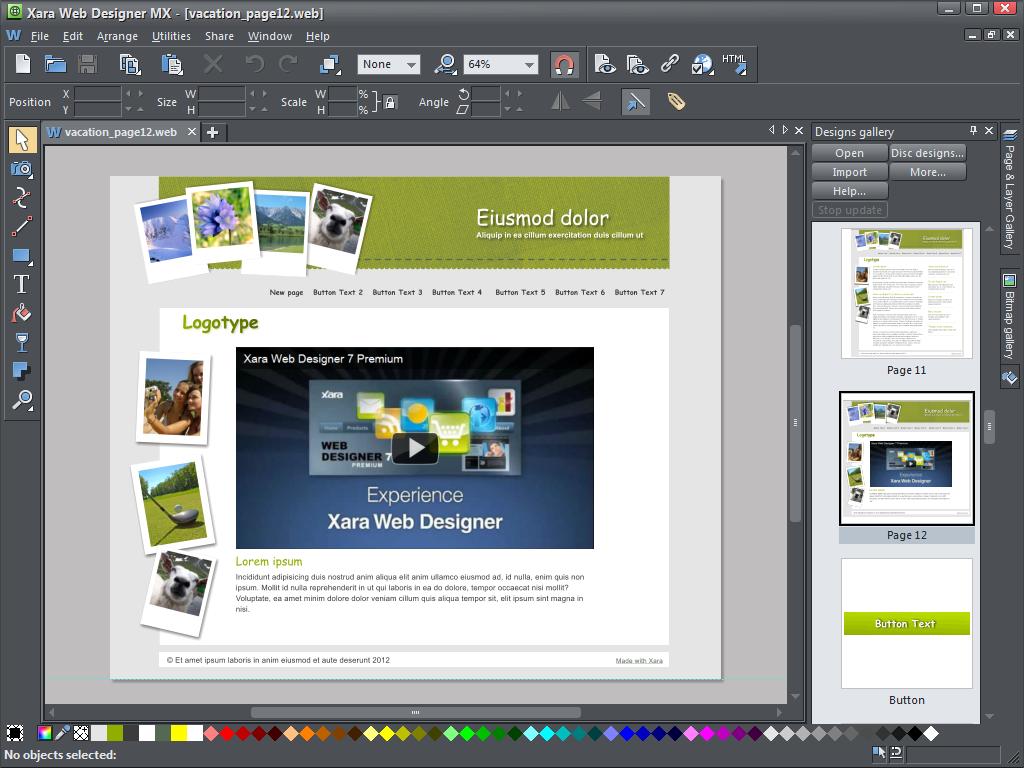 Xara Web Designer MX screenshot: Xara Web Designer, HTML editor, website maker, web authoring, software, html, html pages, web page design, html software, create html, create web page, create website, website design, web page maker, site designer, web page creator, Xara Webstyle, We
