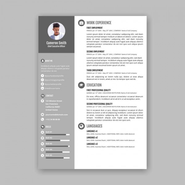 Free Customizable Beautiful Resumes Templates From Xara Cloud